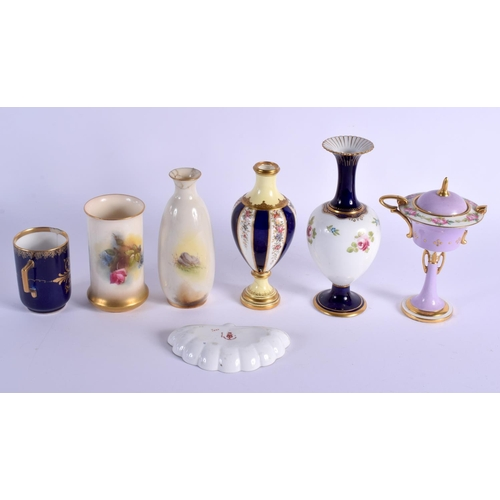190 - 19th and Early 20th c. Royal Worcester, Minton, Coalport and Royal Crown Derby seven pieces...