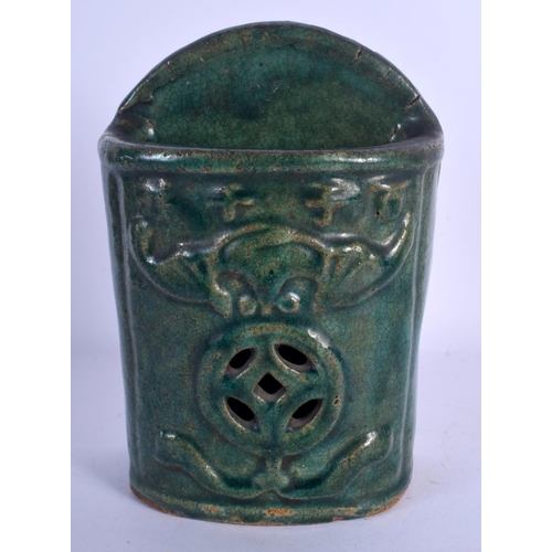 1904 - A 19TH CENTURY CHINESE GREEN GLAZED POTTERY WALL POCKET. 19 cm x 11 cm....
