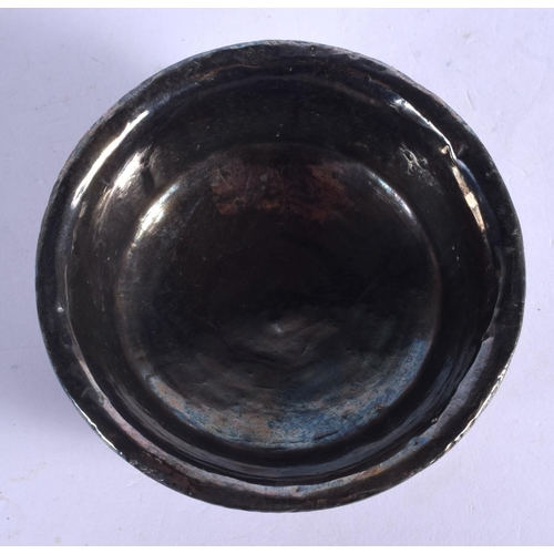 1907 - A 19TH CENTURY CHINESE TIBETAN CARVED WOOD AND SILVER BOWL. 9.5 cm diameter....