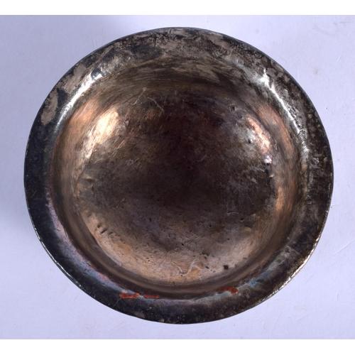 1912 - A 19TH CENTURY CHINESE TIBETAN SILVER WOODEN BOWL. 10 cm diameter....