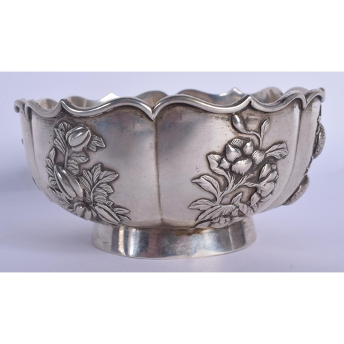 1915 - A 19TH CENTURY CHINESE EXPORT SCALLOPED SILVER BOWL by Zeewo. 181 grams. 11 cm wide....