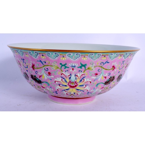 1923 - A CHINESE PORCELAIN FAMILLE ROSE BOWL 20th Century, painted with flowers. 18 cm diameter....