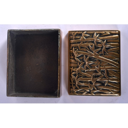 1924 - A 19TH CENTURY JAPANESE MEIJI PERIOD BRONZE BOX AND COVER decorated with bamboo. 11 cm x 9 cm....