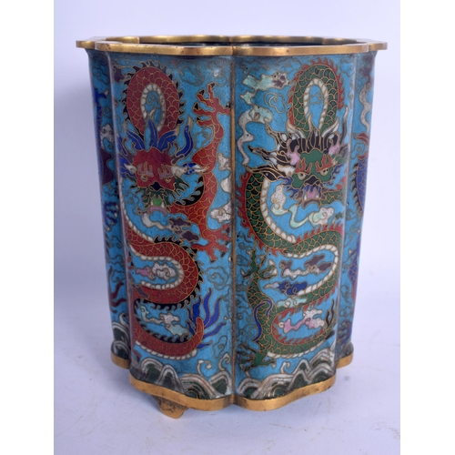 1926 - AN EARLY 20TH CENTURY CHINESE CLOISONNE ENAMEL BRUSH POT Late Qing, decorated with dragons. 15 cm x ...