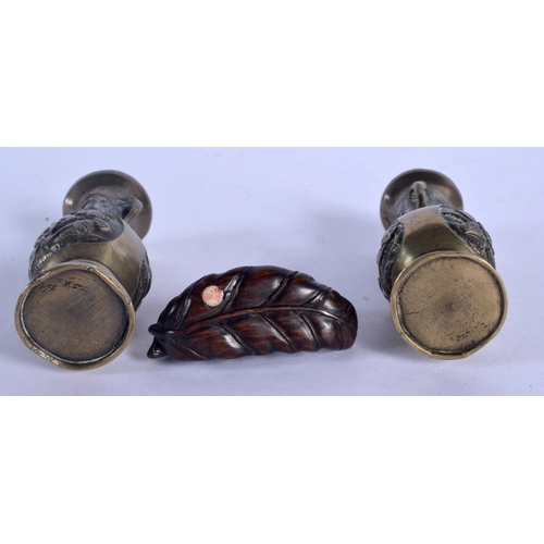 1931 - A JAPANESE BOXWOOD PANGOLIN NETSUKE together with a pair of Japanese bronze vases. 3)...