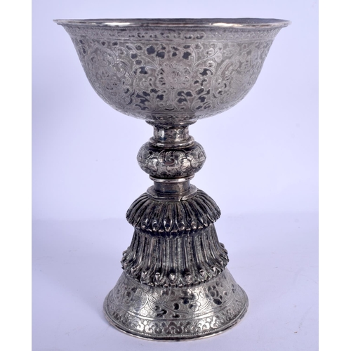1955 - A 19TH CENTURY CHINESE TIBETAN SILVER STEM FORM LIBATION CUP decorated with flowers. 279 grams. 15.7...