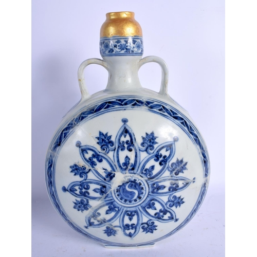 1969 - A CHINESE QING DYNASTY TWIN HANDLED BLUE AND WHITE PILGRIM  FLASK painted with buddhistic emblems an...