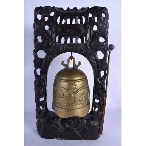 1982 - A 19TH CENTURY CHINESE HARDWOOD BRASS HANGING BELL Qing. 38 cm x 18 cm....
