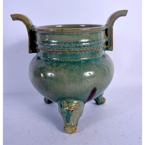 1983 - A 19TH CENTURY CHINESE TWIN HANDLED JUNYAO TYPE POTTERY CENSER Qing. 16 cm x 14 cm....