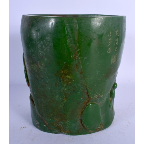 1984 - A LARGE CHINESE CARVED JADE BRUSH POT 20th Century, carved with scholars and landscapes. 16 cm x 13 ...