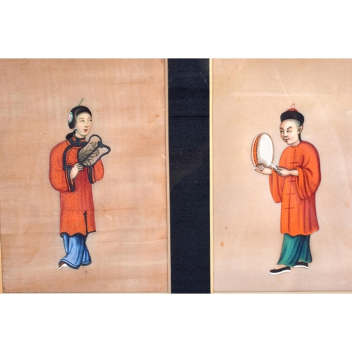 1992 - Chinese School (19th Century) Pith paper, six figures. Each image 14 cm x 10 cm....