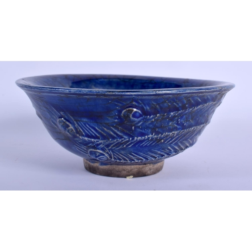 1998 - A CHINESE BLUE GLAZED PHOENIX BOWL 20th Century. 14.5 cm diameter....