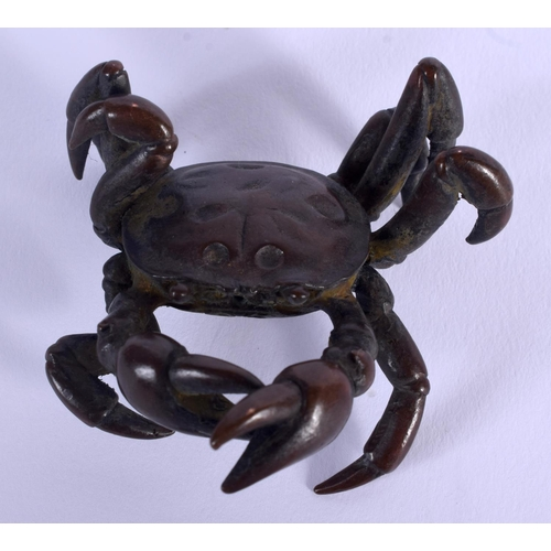 2012 - TWO JAPANESE BRONZE OKIMONO modelled as crabs. 3.5 cm wide. (2)...