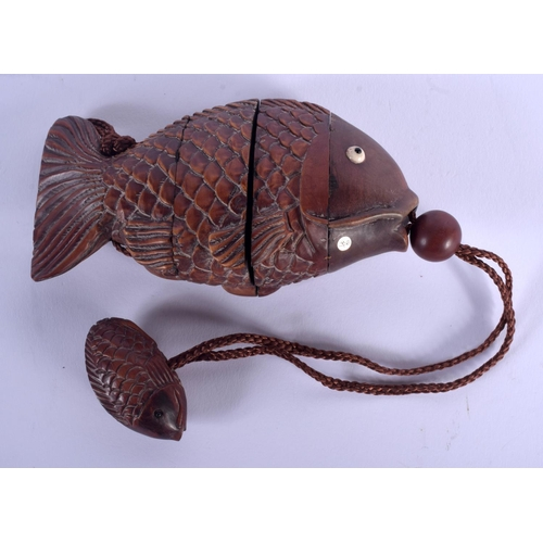 2021 - A JAPANESE CARVED WOOD FISH BOXWOOD INRO. 12 cm x 5 cm....