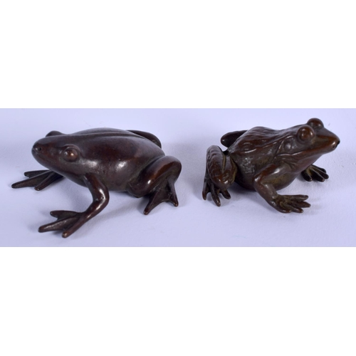 2026 - TWO JAPANESE BRONZE TOADS. 4.5 cm wide. (2)...