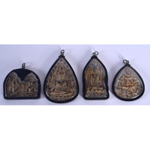2037 - FOUR EARLY 20TH CENTURY CHINESE TIBETAN POTTERY ICONS. (4)...