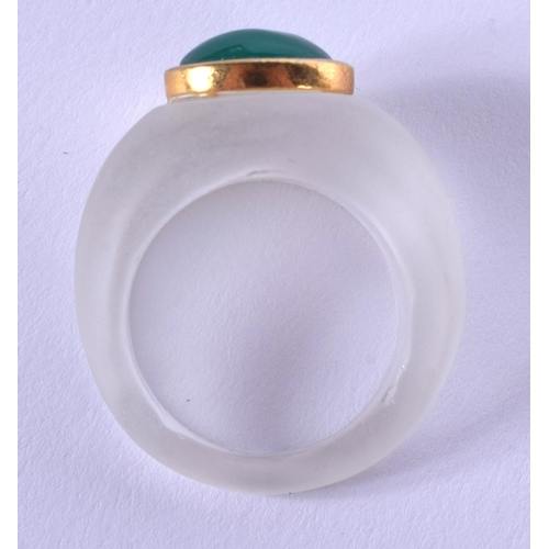 2040 - A CHINESE CRYSTAL AND JADE RING. M....