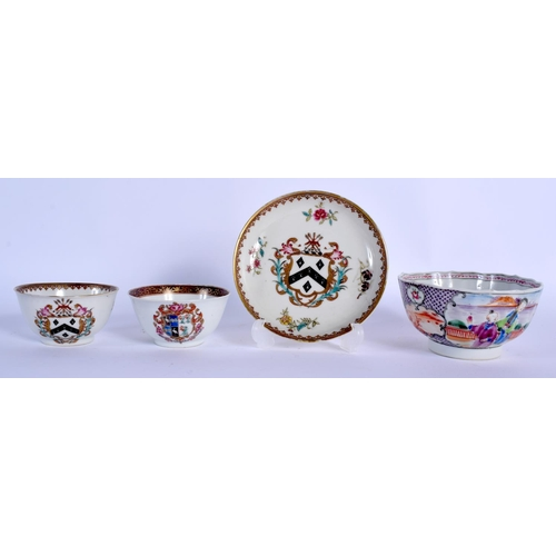 2059 - TWO 18TH CENTURY CHINESE EXPORT ARMORIAL TEABOWLS Qianlong, together with two others. Largest 11 cm ...