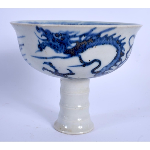 2065 - A 19TH CENTURY CHINESE BLUE AND WHITE PORCELAIN STEM CUP Yuan style. 12 cm x 11 cm....