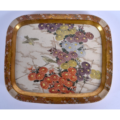 2067 - A 19TH CENTURY JAPANESE MEIJI PERIOD SATSUMA TRAY painted with birds in flight. 24 cm x 19 cm....