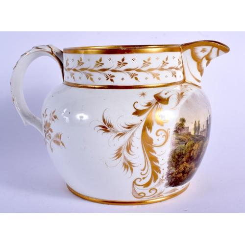 207 - Early 19th c. Derby jug painted with a grand castle titled Fescali version, red mark. 20cm wide...