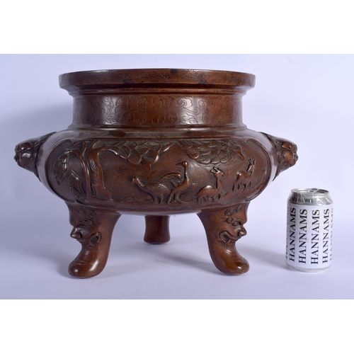 2077 - A LARGE CHINESE TWIN HANDLED BRONZE JARDINIERE 20th Century. 30 cm x 30 cm....