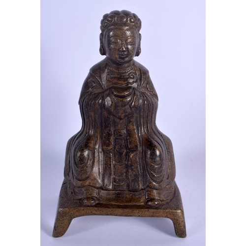 2079 - A CHINESE FIGURE OF A SEATED BUDDHA 20th Century. 24 cm high....