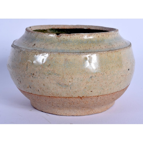 2083 - A CHINESE TANG DYNASTY CELADON POTTERY CENSER. 8.5 cm wide....