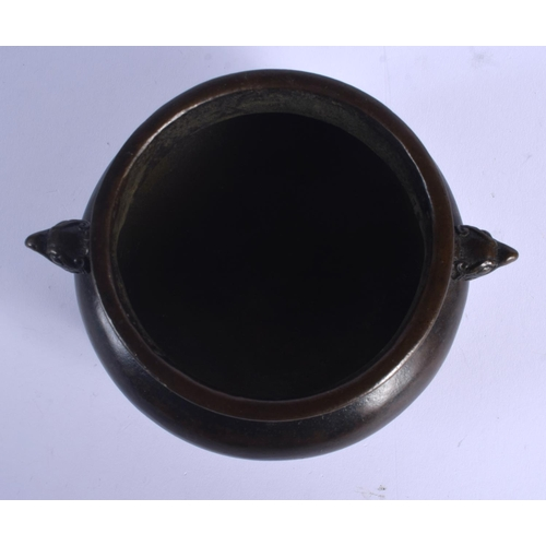 2085 - A CHINESE BRONZE CENSER 20th Century, with mask head handles. 13 cm wide, internal width 9 cm....