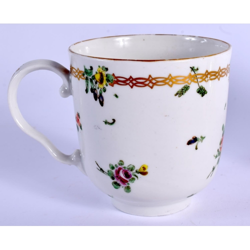 211 - 18th c. Bristol chocolate cup and saucer painted with flowers and a chainlike border. Saucer 13cm di...
