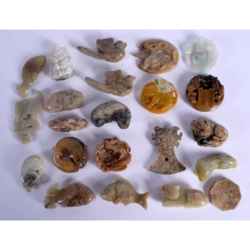 2113 - A COLLECTION OF CHINESE JADE CARVINGS mainly late Qing, in various forms and sizes. (22)...