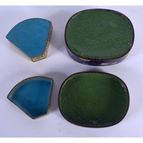 2141 - TWO EARLY 20TH CENTURY CHINESE CLOISONNE ENAMEL BOX Late Qing. Largest 9 cm x 7 cm. (2)...