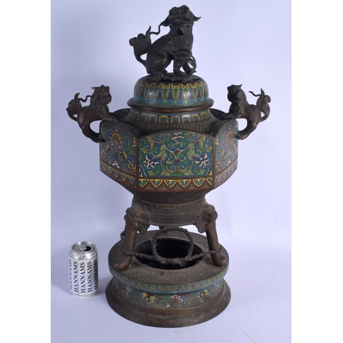 2159 - A 19TH CENTURY JAPANESE MEIJI PERIOD BRONZE CHAMPLEVE ENAMEL CENSER AND COVER decorated with flowers...