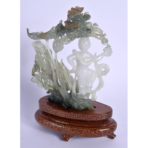 2167 - AN EARLY 20TH CENTURY CHINESE CARVED JADEITE FIGURE OF A FEMALE modelled amongst foliage. Jadeite 12...