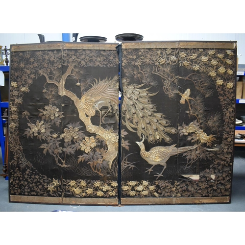 2171 - A LARGE 19TH CENTURY JAPANESE MEIJI PERIOD EMBROIDERED DOUBLE SCREEN decorated with birds and landsc...