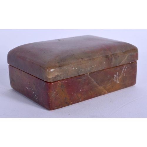 2173 - A 19TH CENTURY CHINESE CARVED SOAPSTONE BOX AND COVER Qing. 9 cm x 6 cm....
