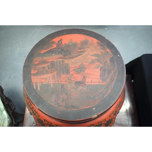 2177 - A 19TH CENTURY CHINESE CARVED RED LACQUER DRUM FORM STOOL Qing. 46 cm x 36 cm....