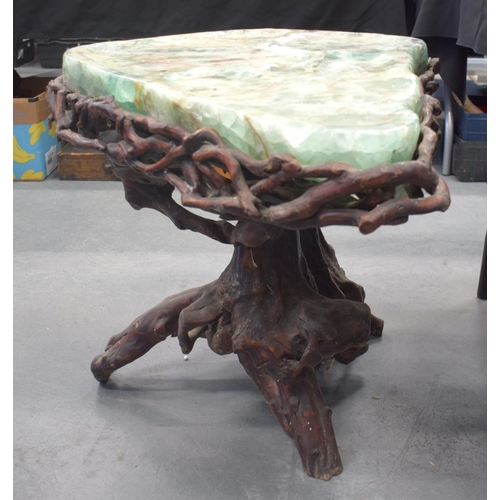 2178 - A LARGE 19TH CENTURY CHINESE CARVED FLUORITE ROOT WOOD TABLE Qing. 48 cm x 66 cm x 57 cm....