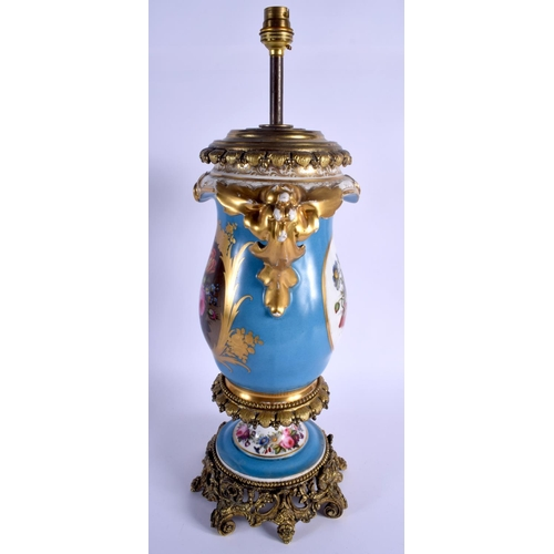 256 - A LARGE 19TH CENTURY FRENCH PARIS PORCELAIN VASE converted to a lamp. 50 cm high inc fittings....