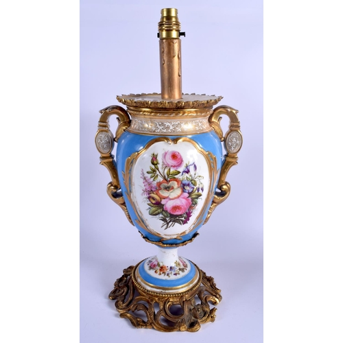 257 - A LARGE 19TH CENTURY FRENCH PARIS PORCELAIN VASE converted to a lamp. 45 cm high inc fittings....