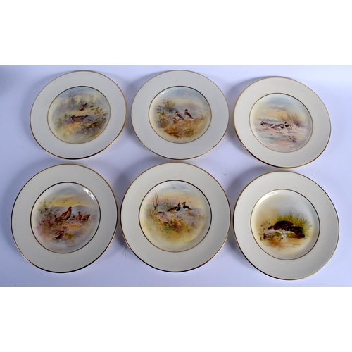 258 - SIX ROYAL DOULTON PORCELAIN CABINET PLATES by Holloway, painted with birds and landscapes. 22 cm dia...