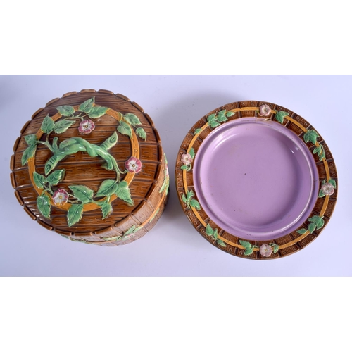 264 - A LARGE 19TH CENTURY GEORGE JONES MAJOLICA CHEESE DISH AND COVER decorated with vines. 30 cm x 20 cm...