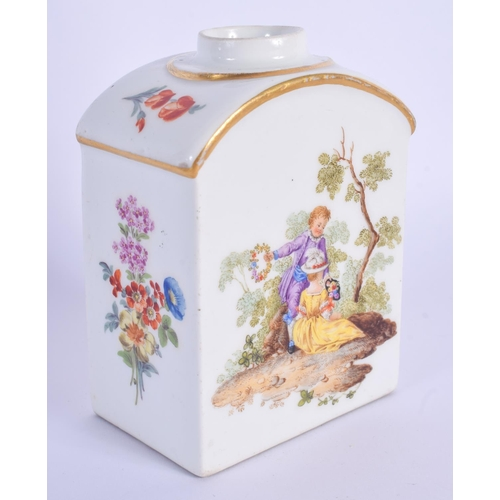 285 - AN 18TH CENTURY MEISSEN PORCELAIN TEA CANISTER painted with lovers within landscapes. 10.5 cm high....
