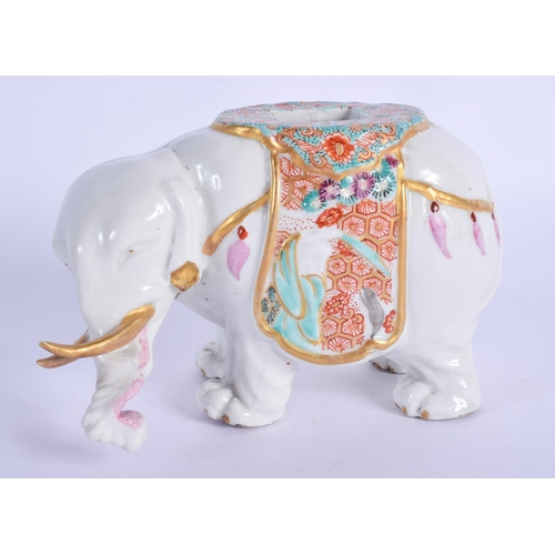 289 - A RARE 19TH CENTURY FRENCH SAMSONS OF PARIS PORCELAIN ELEPHANT painted with floral sprays. 13 cm wid...