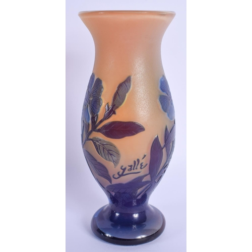 29 - A FRENCH GALLE CAMEO GLASS VASE decorated with flowers. 17 cm high....