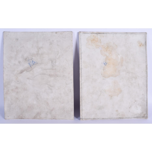 295 - A LARGE PAIR OF 19TH CENTURY GERMAN KPM PORCELAIN PLAQUES painted with 17th century royalty. 28 cm x...