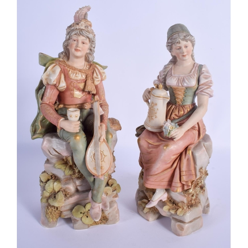 299 - A LARGE PAIR OF ROYAL DUX PORCELAIN FIGURES modelled holding jugs and instruments. 30 cm high....