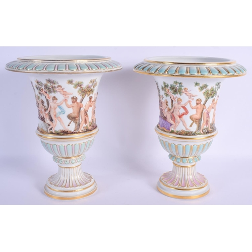 300 - A VERY RARE PAIR OF 19TH CENTURY MEISSEN PORCELAIN VASES modelled in the Naples style, painted with ...