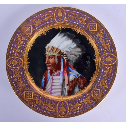 301 - A RARE EARLY 20TH CENTURY VIENNA PORCELAIN PLATE painted with an Indian Chief. 24 cm diameter....