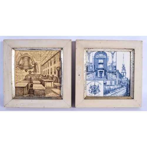 304 - TWO ANTIQUE MINTON TILES. 14 cm square....